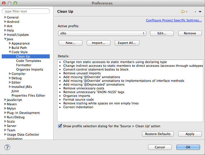 Eclipse Clean Up Settings