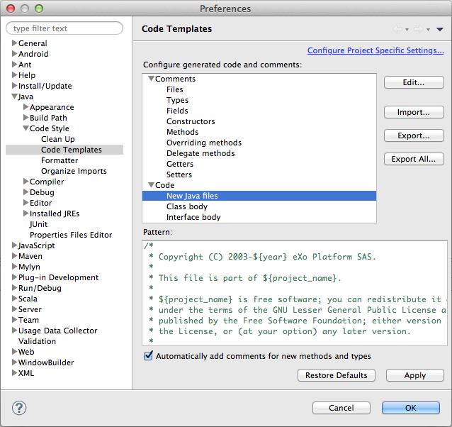 Eclipse Code Style Settings