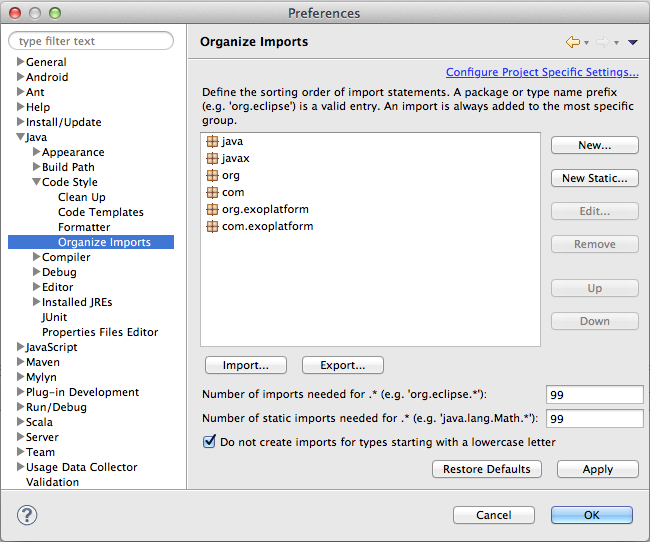 Eclipse Organize Imports Settings